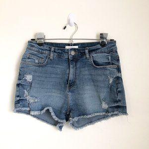 H&M Distressed Cut Off Blue Denim Shorts